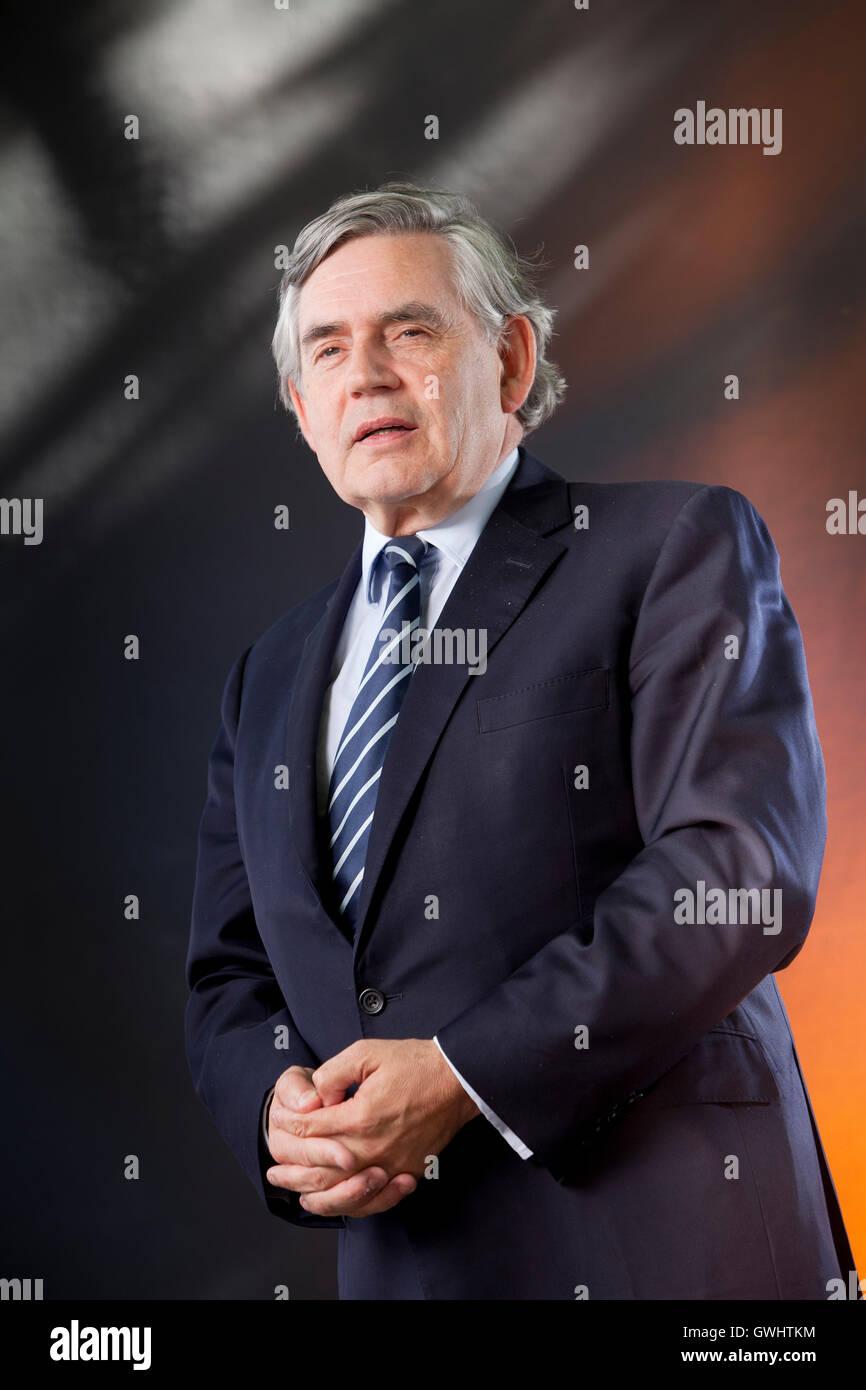 Gordon Brown, the British politician, former Prime Minister and writer, at the Edinburgh International Book Festival. - Stock Image