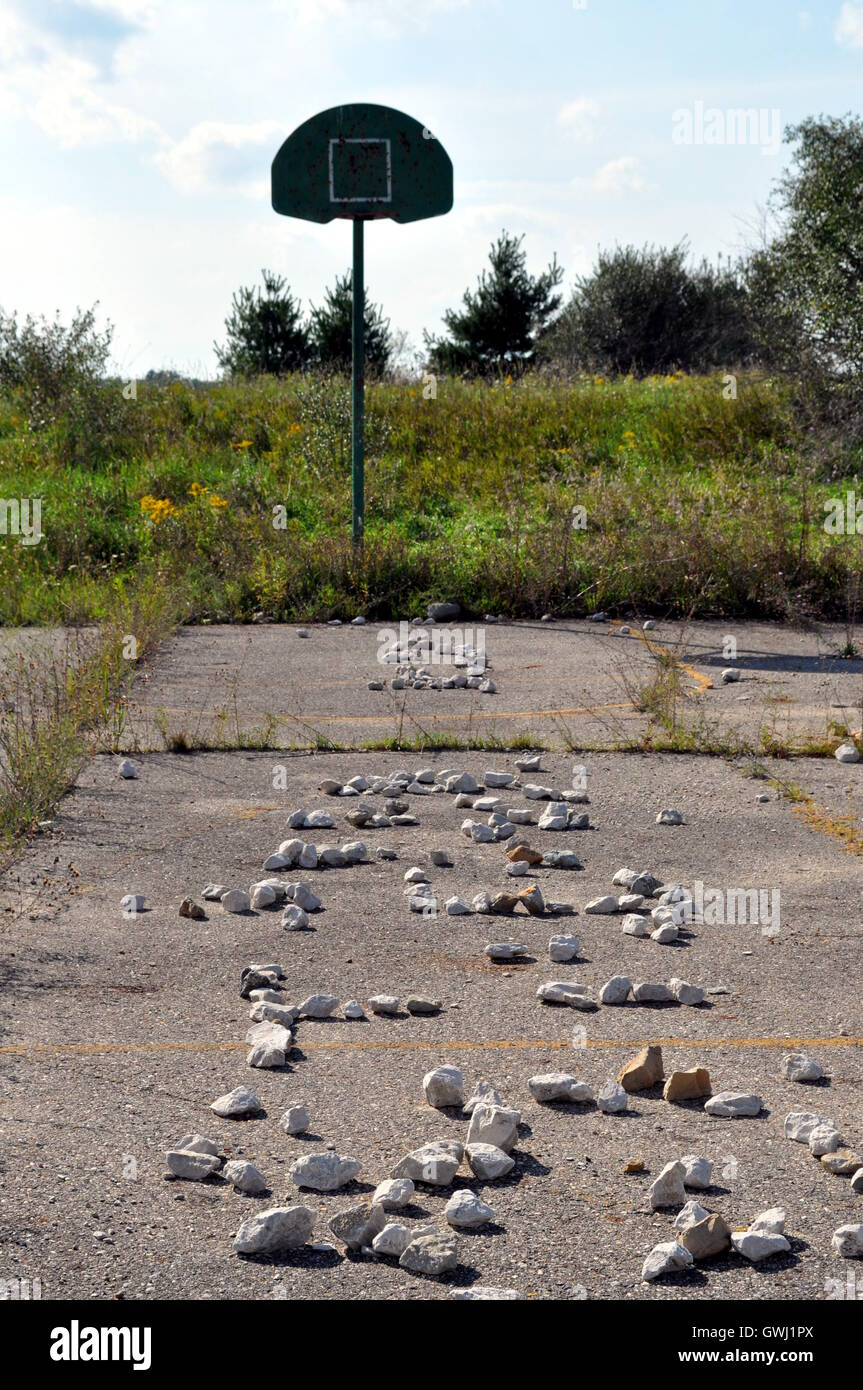 Rocky pathway to a forgotten basket. - Stock Image