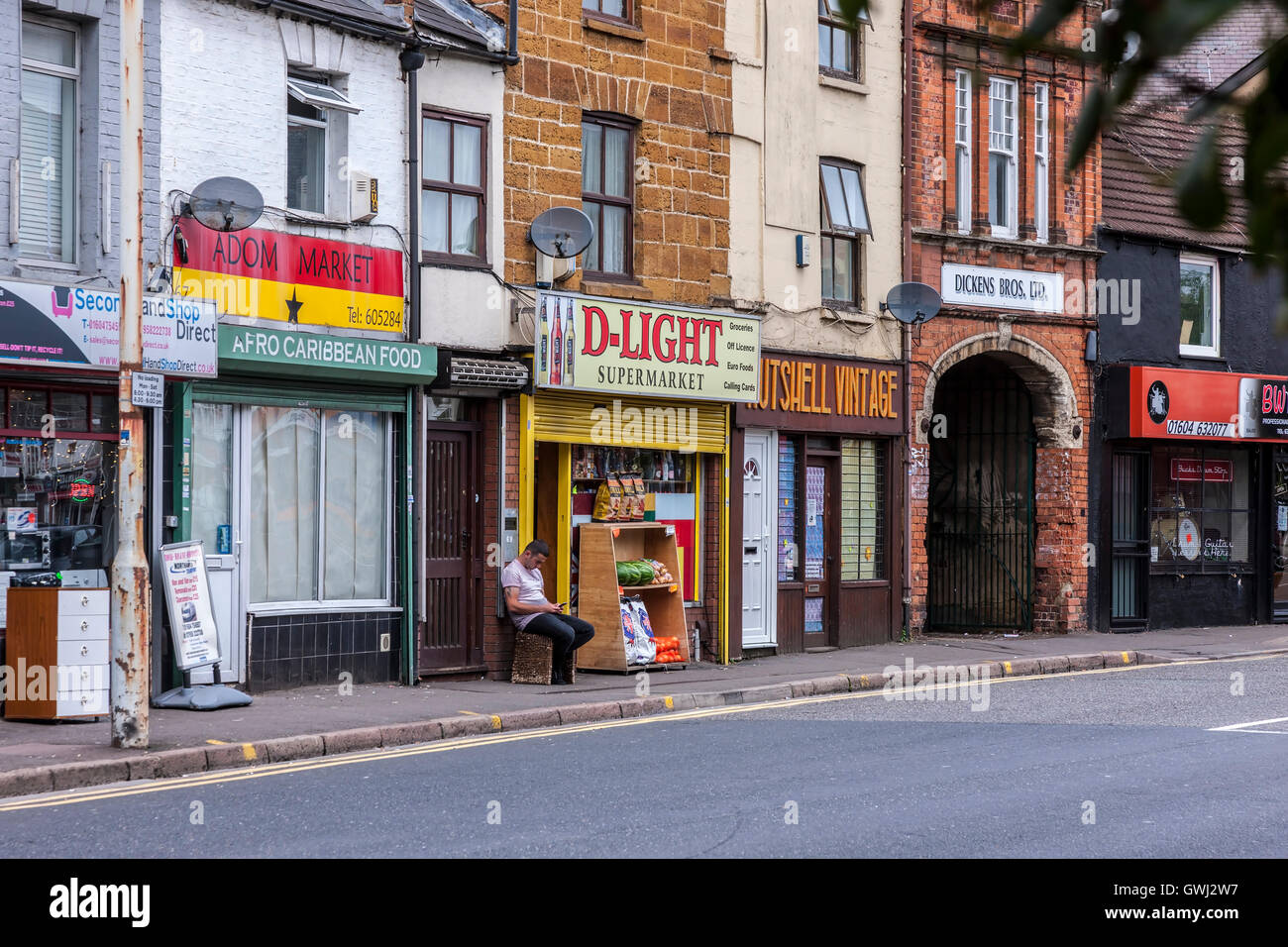 Shopfront's on Kettering road Northampton early morning. - Stock Image