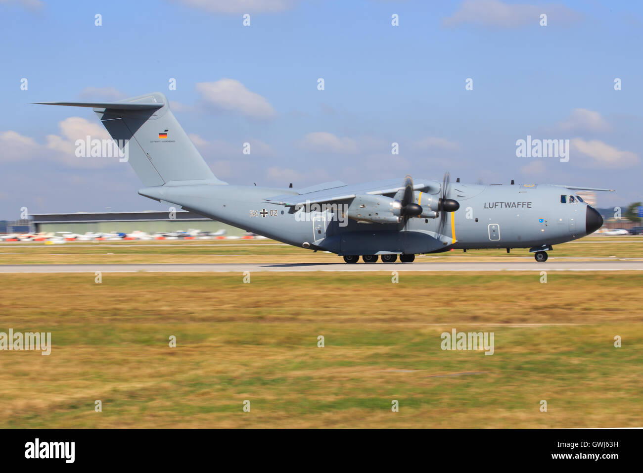 Airbus A400M from GAF landing at Stuttgart international airport. - Stock Image