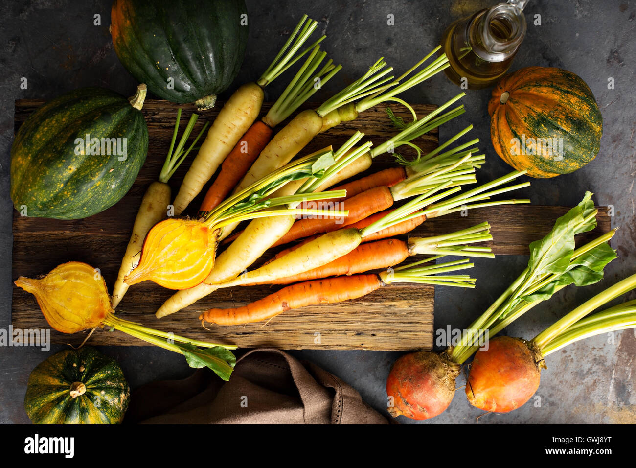 Big pile of autumn produce ready to be cooked - Stock Image