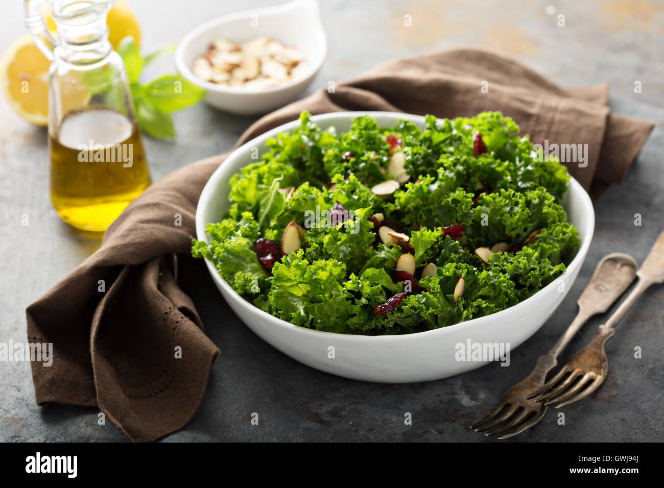 Fresh healthy salad with kale and cranberry - Stock Image