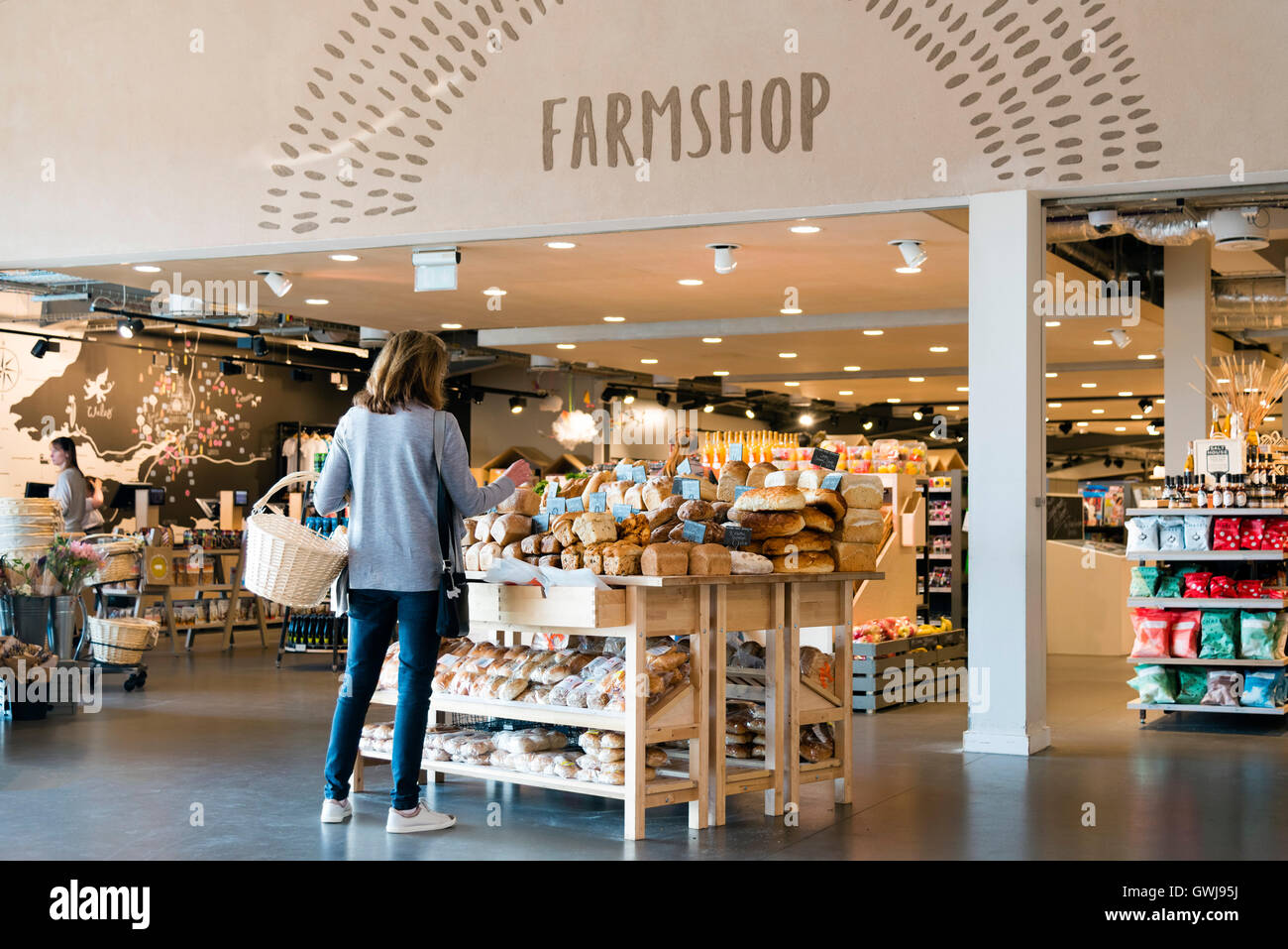 Farm shop at motorway service station, on the M5 northbound junction 12 to 11a, UK. - Stock Image