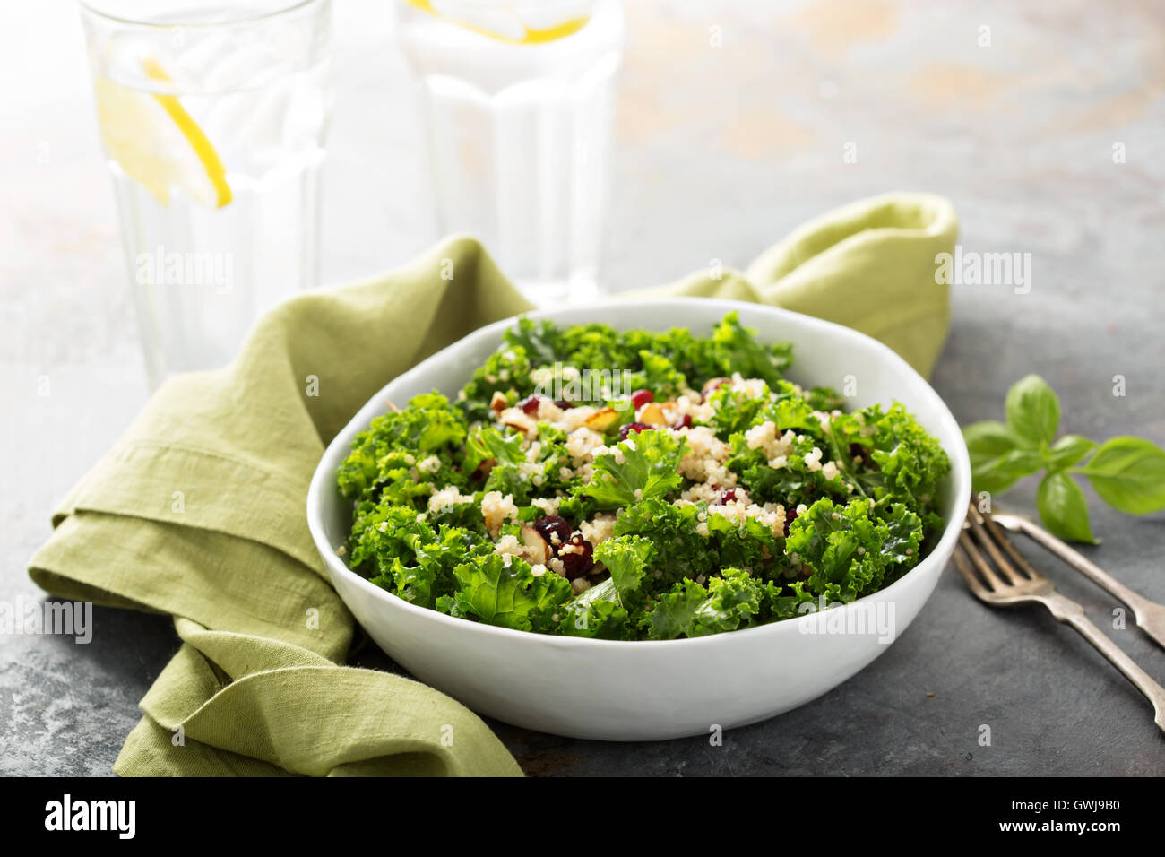 Fresh healthy salad with kale and quinoa - Stock Image