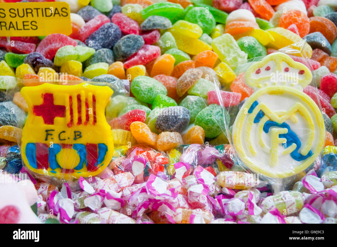 Lollipops of Barcelona FC and Real Madrid CF, close view. Madrid, Spain. - Stock Image