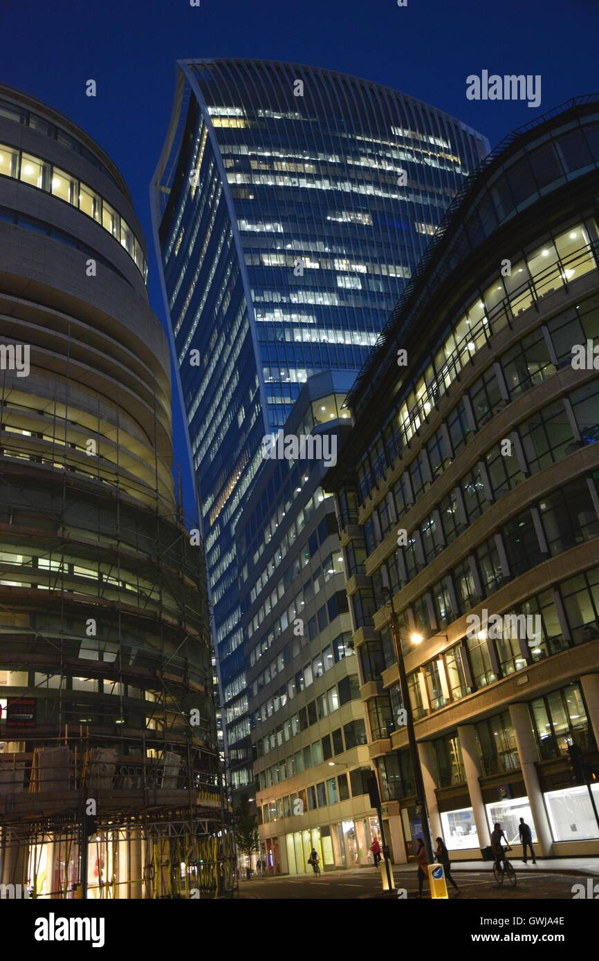 The Walkie Talkie, 20 Fenchurch Street at night - Stock Image