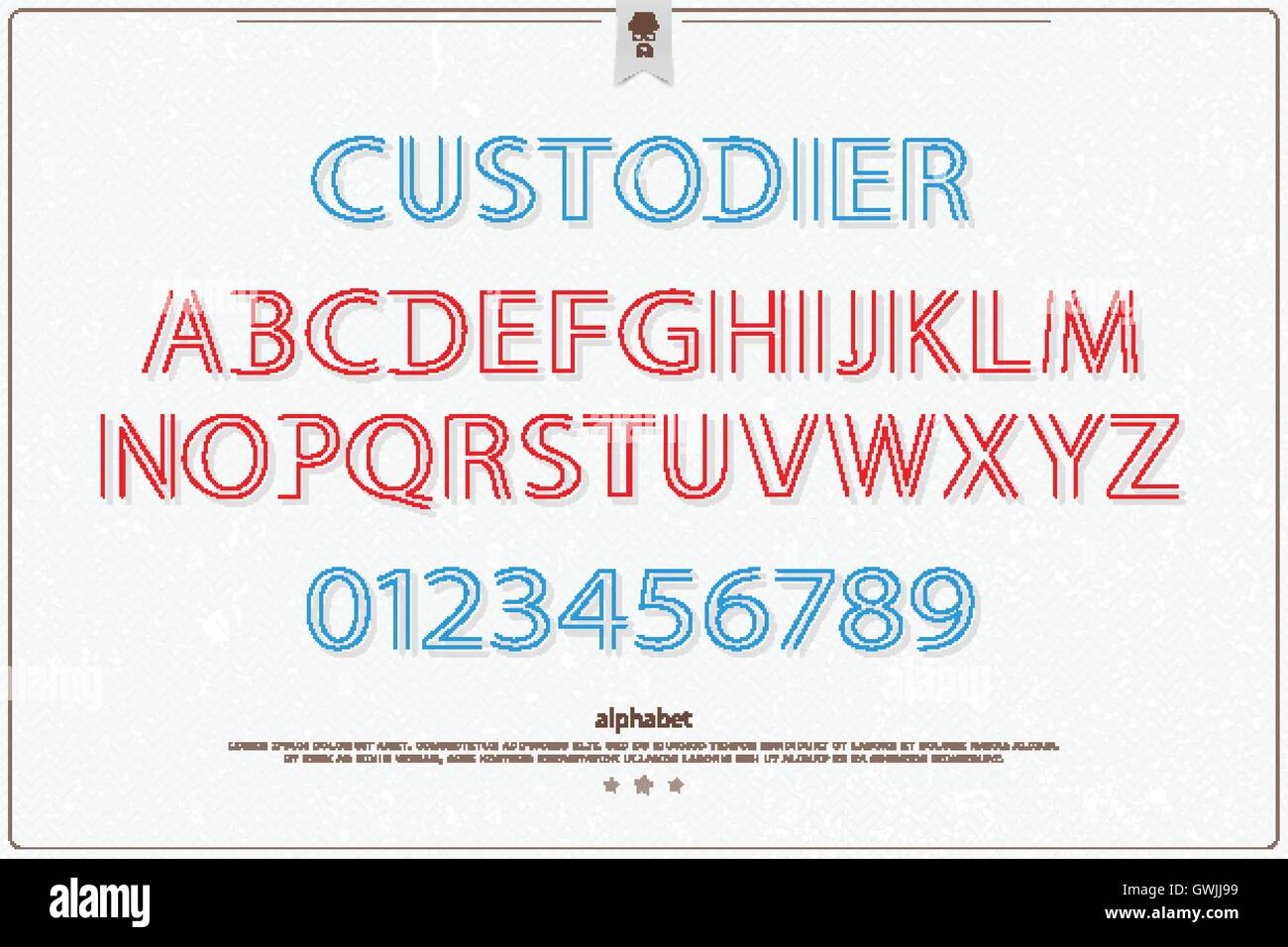stylish alphabet letters and numbers over paper texture  vector font