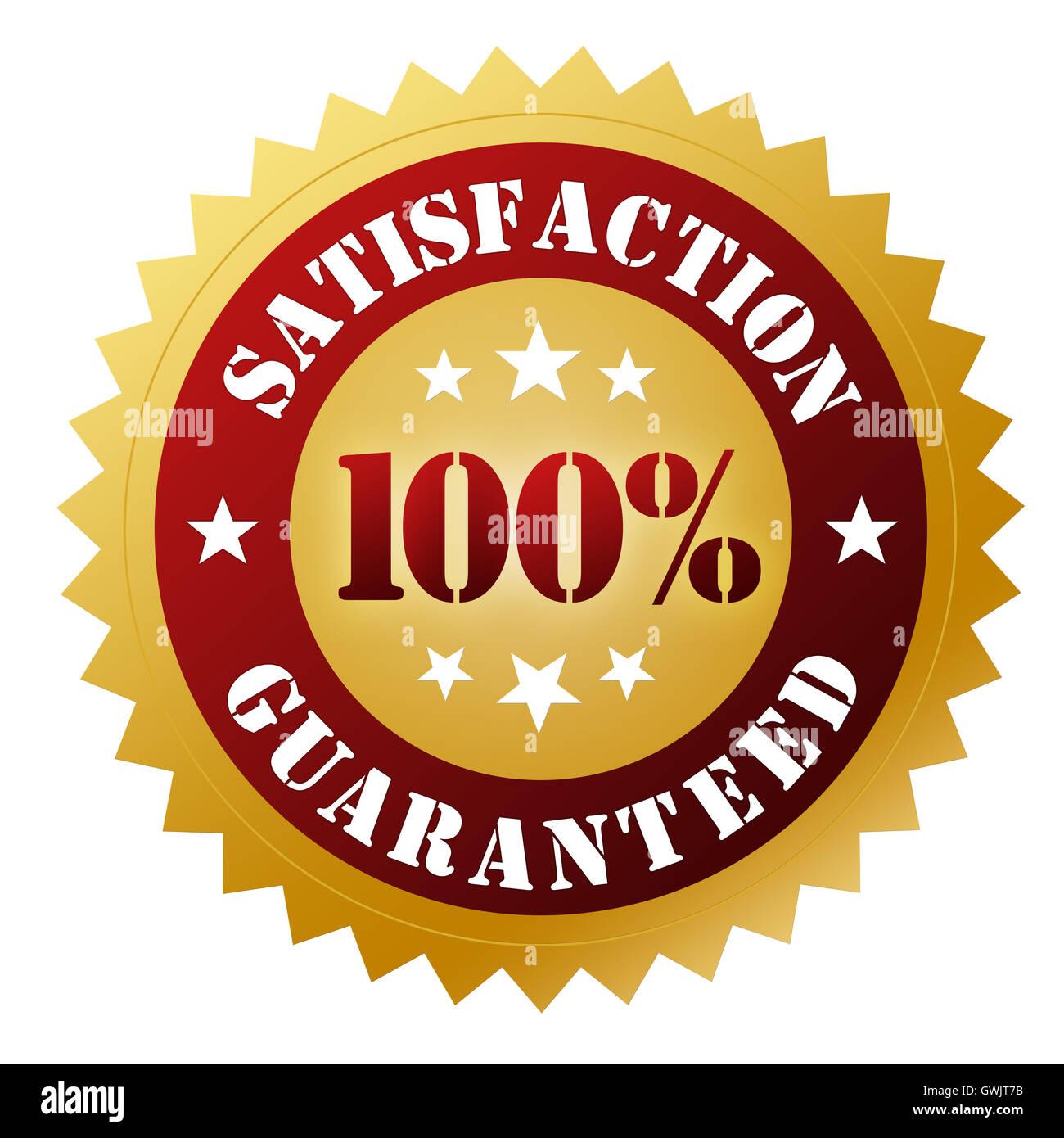 satisfaction guaranteed badge concept  3d illustration - Stock Image