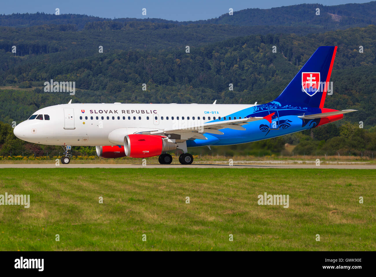 Lowpass of Airbus A320 from Slovenska Republika at SIAF airshow in Sliac, Slovakia - Stock Image