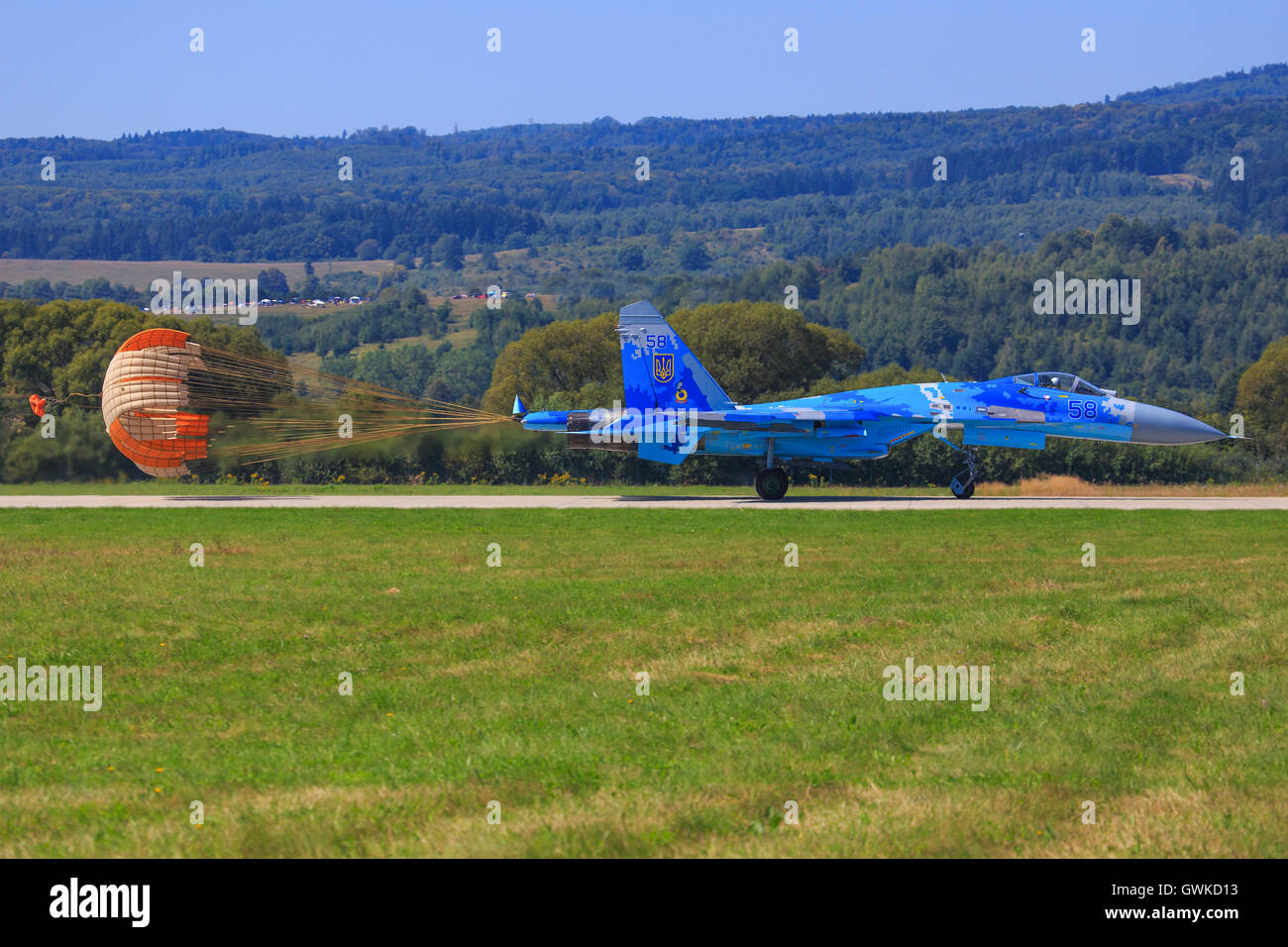 su-27 Sukhoi r at SIAF airshow in Sliac, Slovakia - Stock Image
