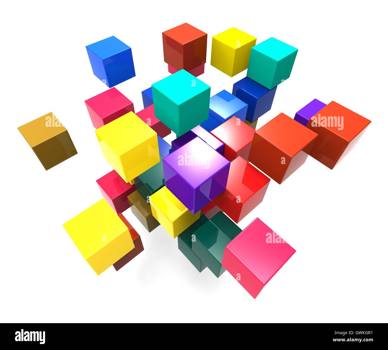Exploding Blocks Showing Scattered Puzzle Stock Photo
