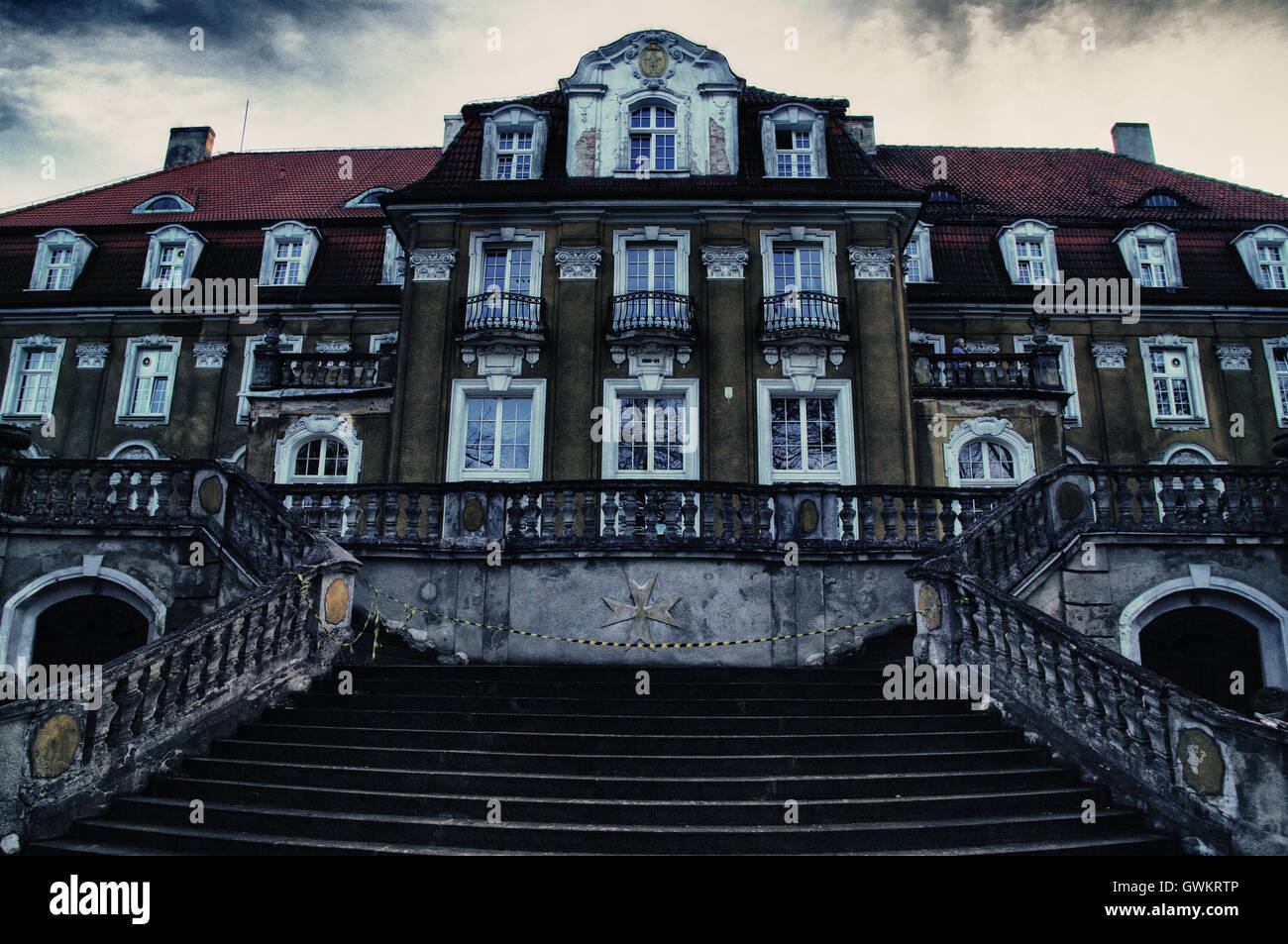 building, Europe, house, neo-renaissance, place, Poland, renaissance, resort, revival, sanatorium, spa, old, dark, - Stock Image