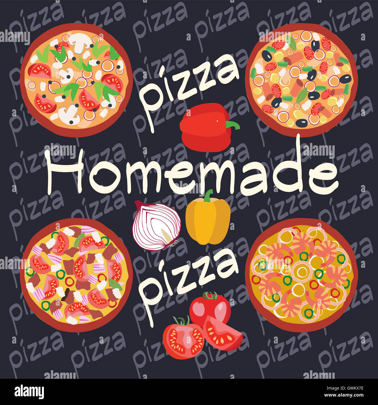 Vector Flat Homemade Hot Pizza Icons Set Posters Design Of Italian Restaurant Flyer Or Banner Pizzeria Cooking Backgrou
