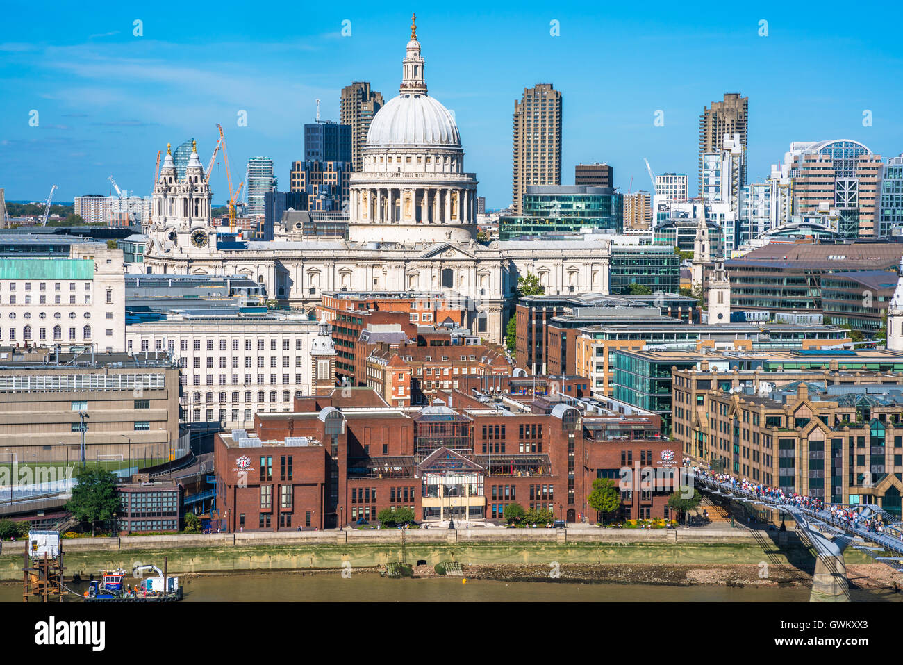 LONDON UK - SEPTEMBER 11, 2016: Panoramic aerial view of The City of London with St. Paul's cathedral - Stock Image