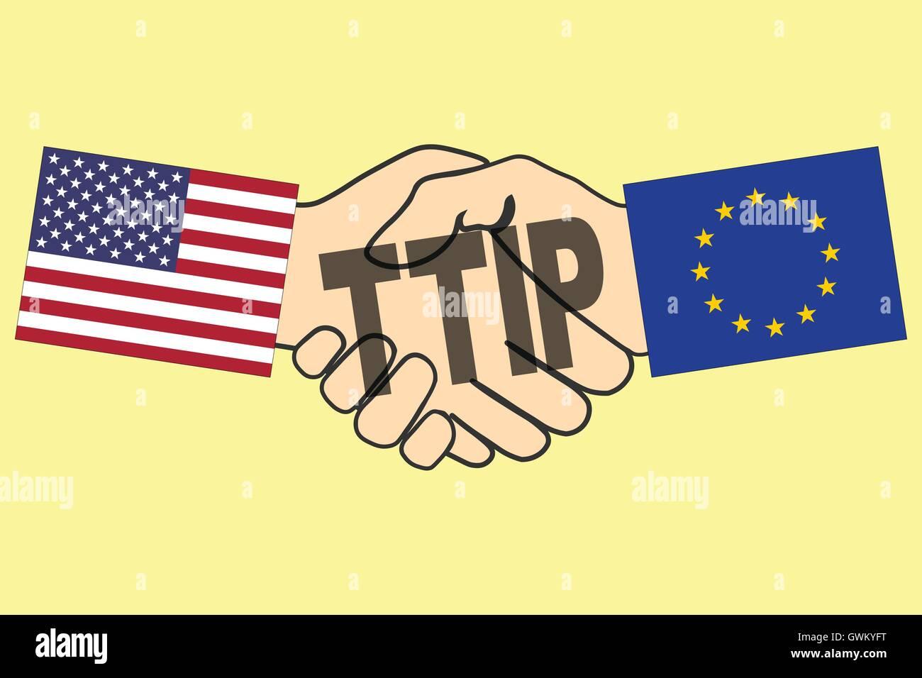 Ttip Handshake With Usa And Eu Flag Transatlantic Trade And Stock