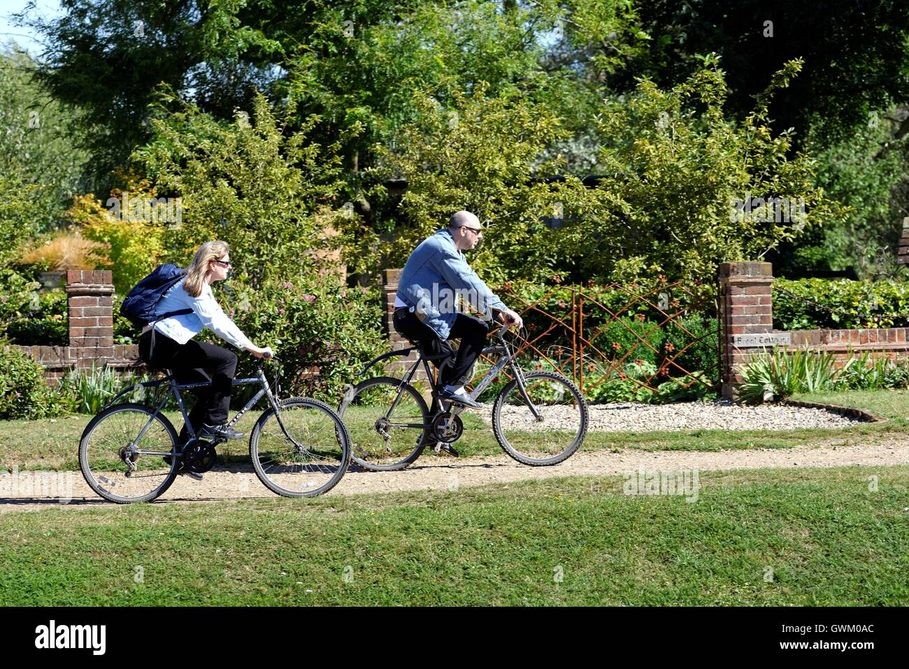 Two cyclists on towpath of the River Thames at Laleham Surrey - Stock Image