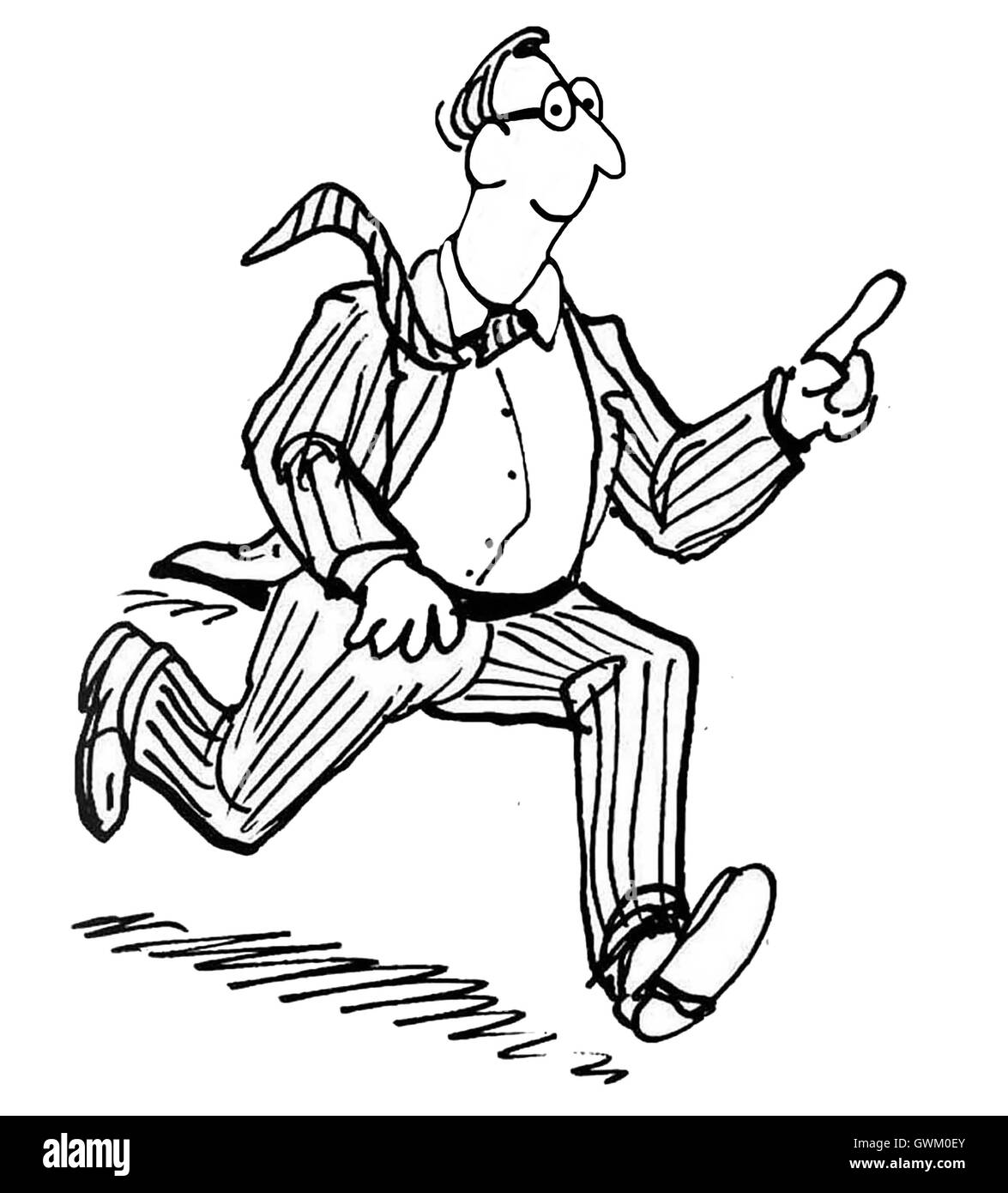 B&W business illustration of a smiling businessman running and pointing a finger to the distance. - Stock Image
