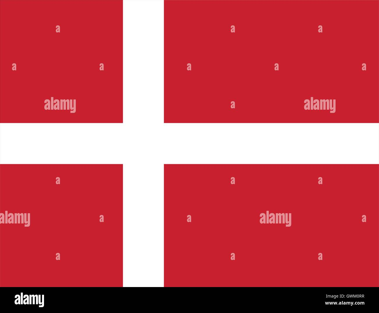 Denmark flag, accurate vector illustration, official colors, correct proportion. - Stock Image