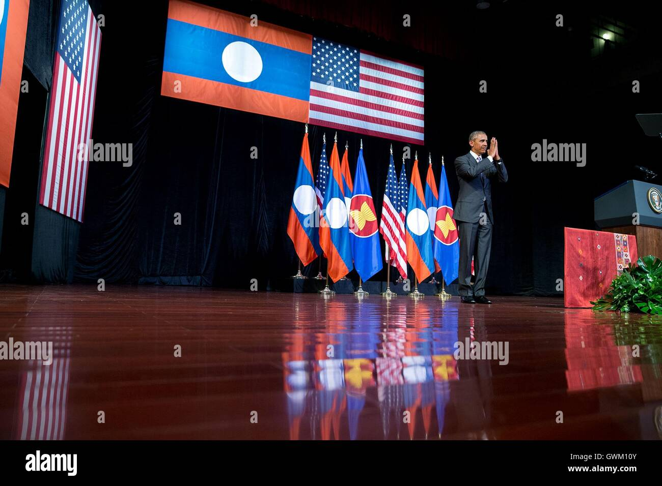 U.S President Barack Obama concludes his remarks at the Lao National Cultural Hall September 5, 2016 in Vientiane, - Stock Image