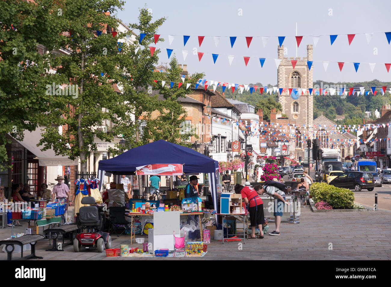 A fundraising stand for Leukemia in Henley-on-Thames, England - Stock Image