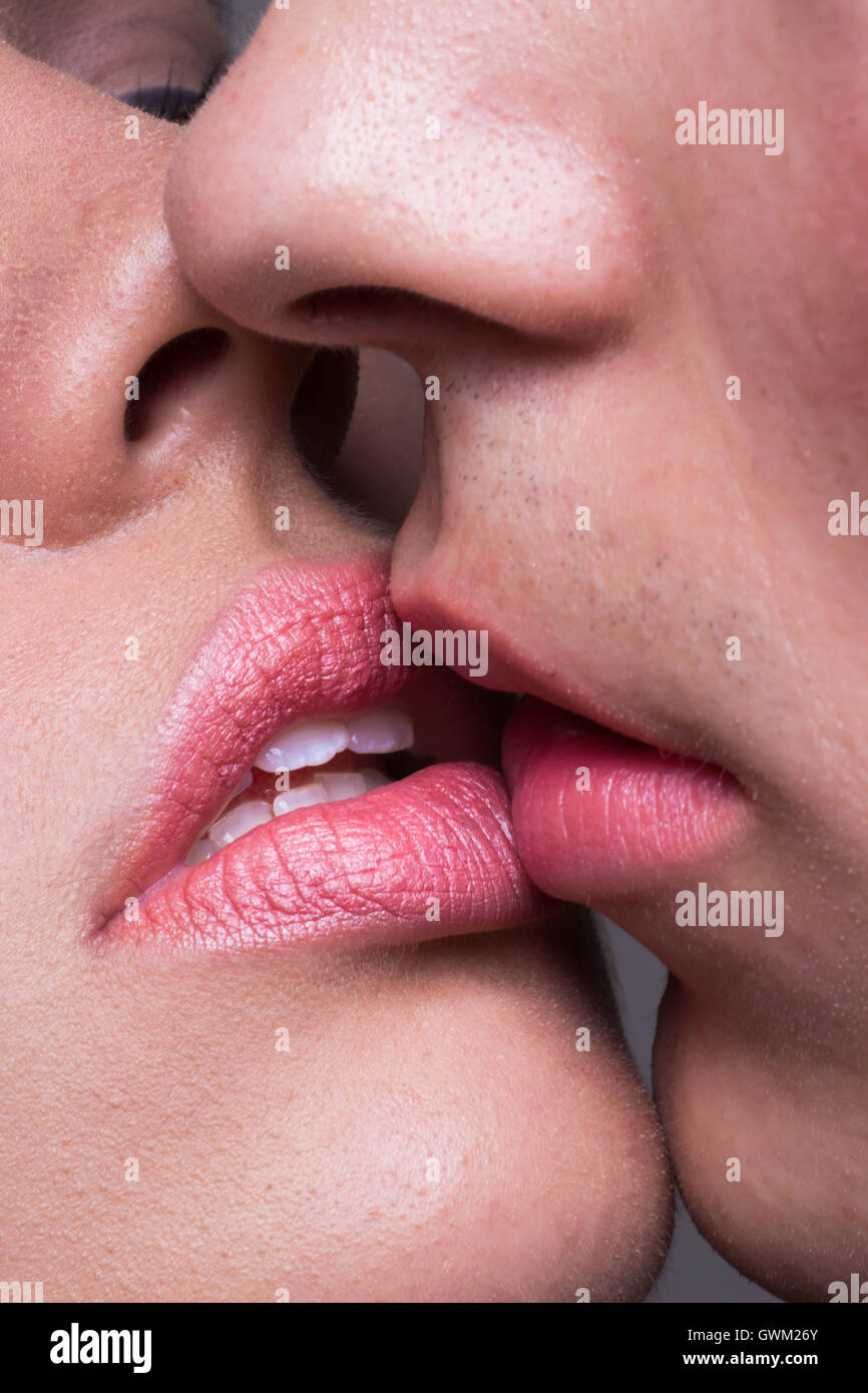 Close-Up Two Lips Kissing Sensual Intimate, Man Woman Girl -5525
