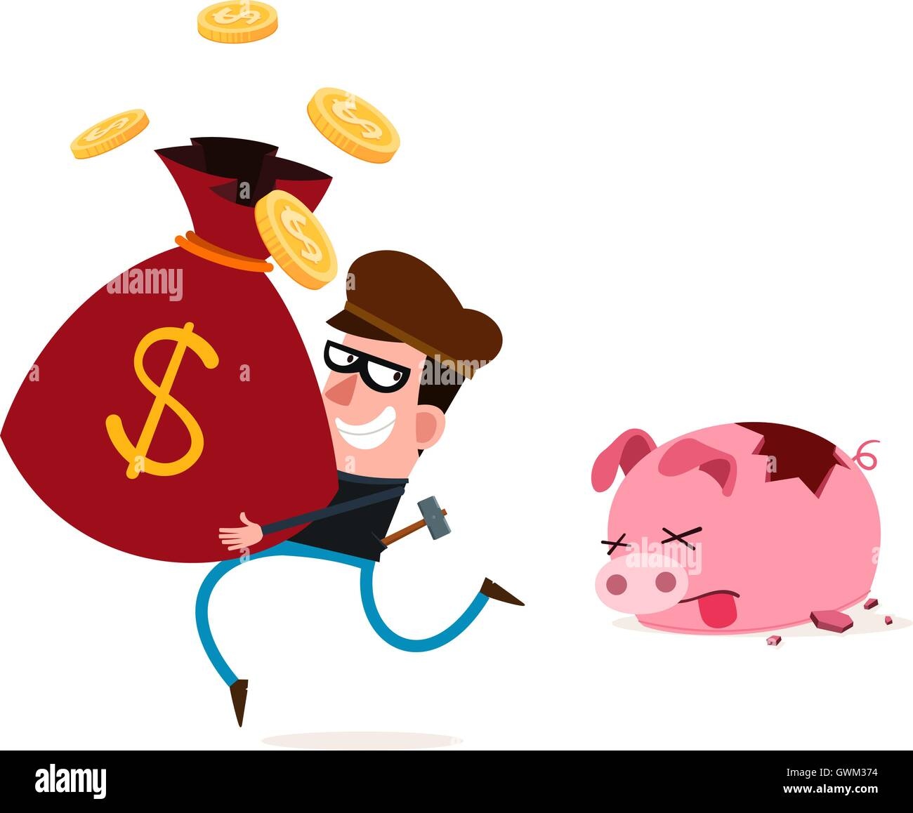 tricky thief stealing money from piggy banks - Stock Vector