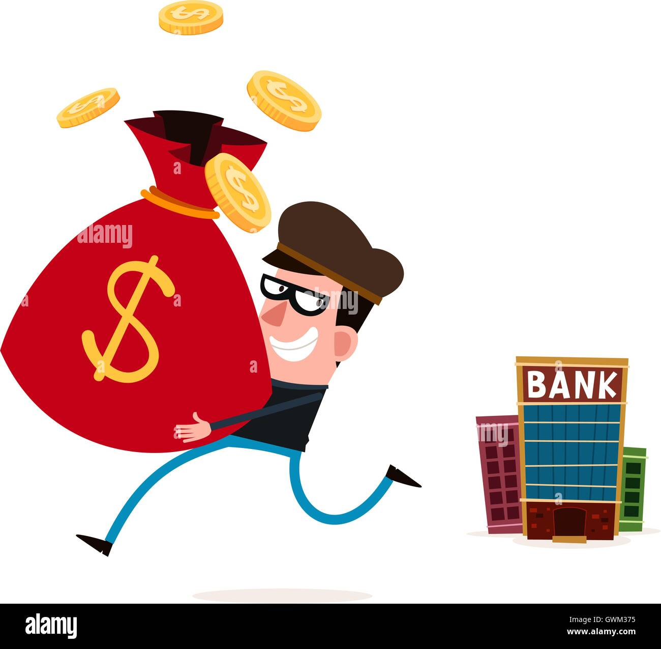 tricky thief stealing money from bank - Stock Image