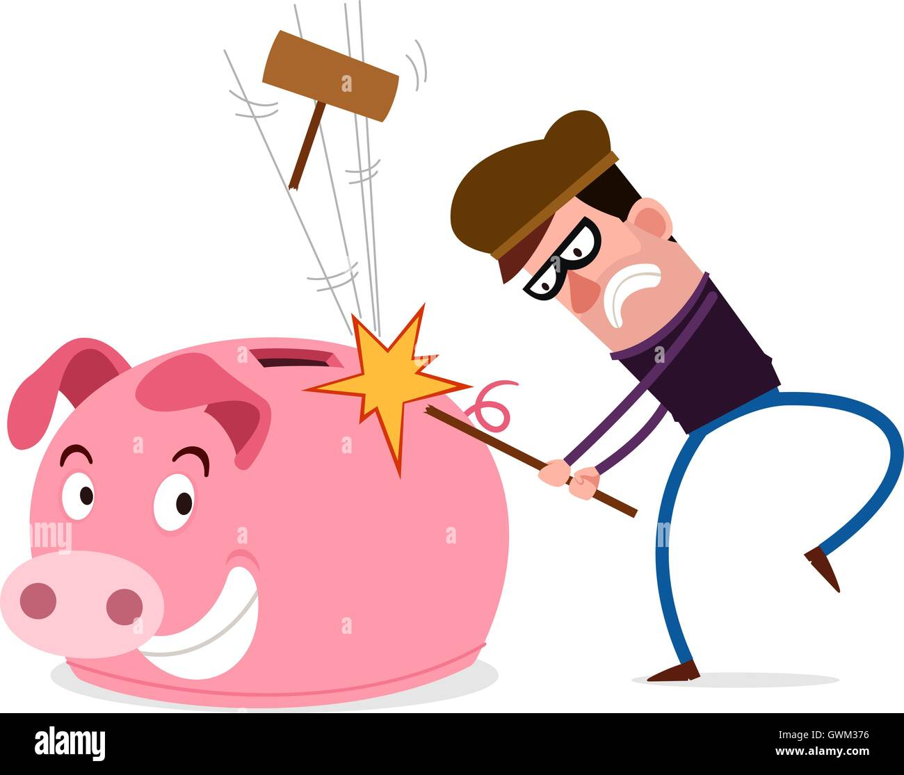 tricky thief failed to breaking piggy bank - Stock Image