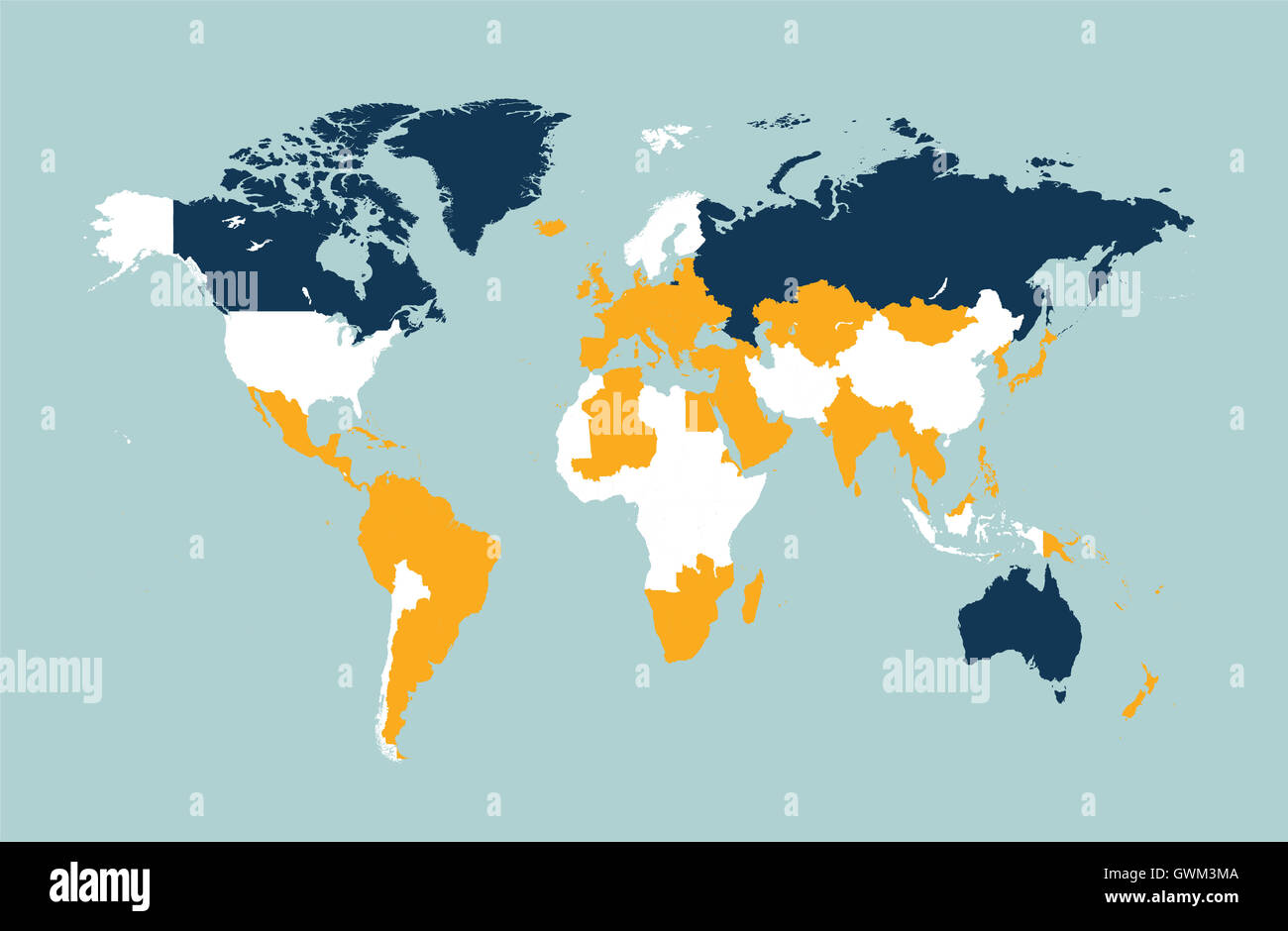 world map vector flat with countries blue - Stock Image