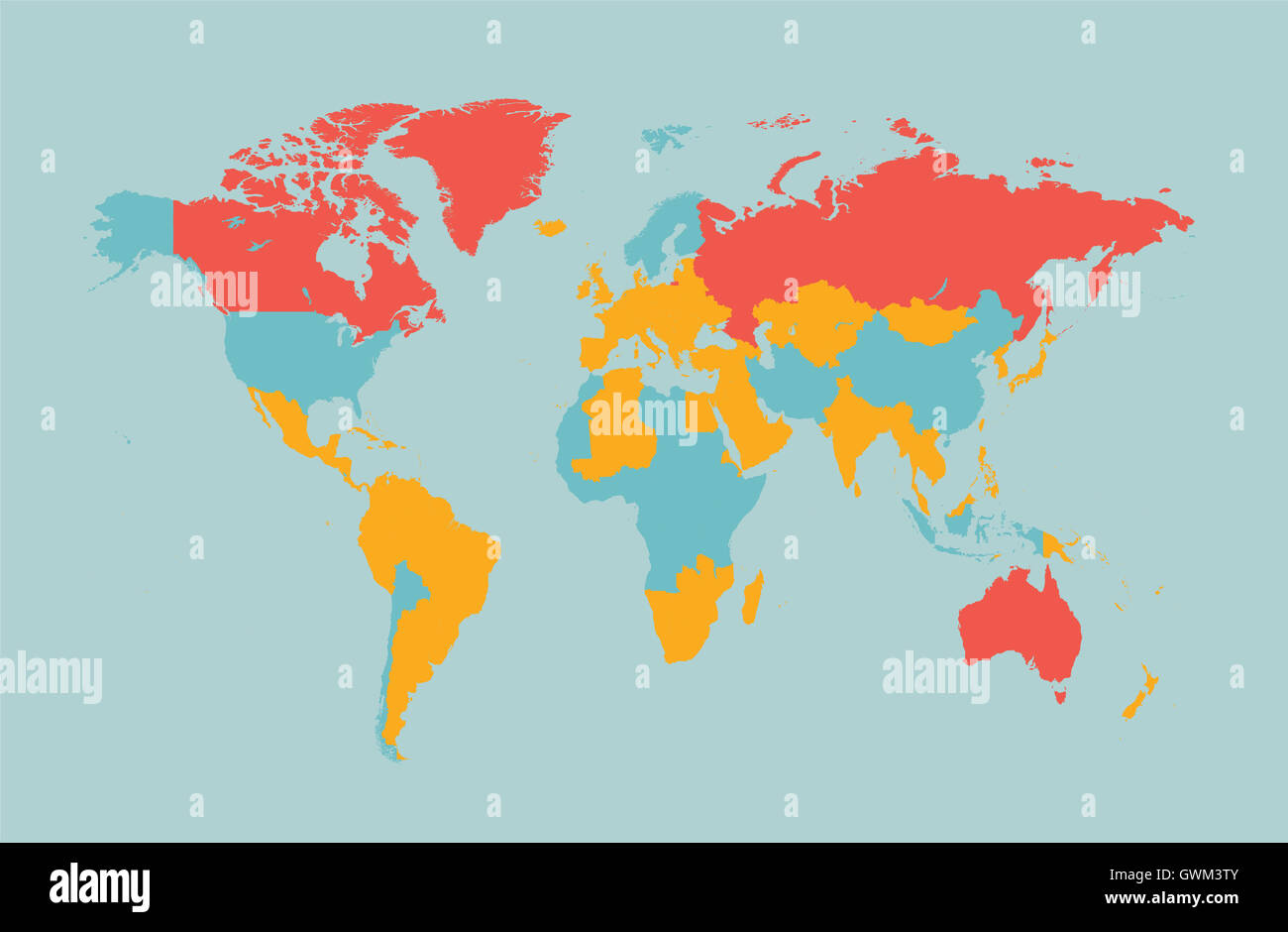 world map vector flat design with countries - Stock Image