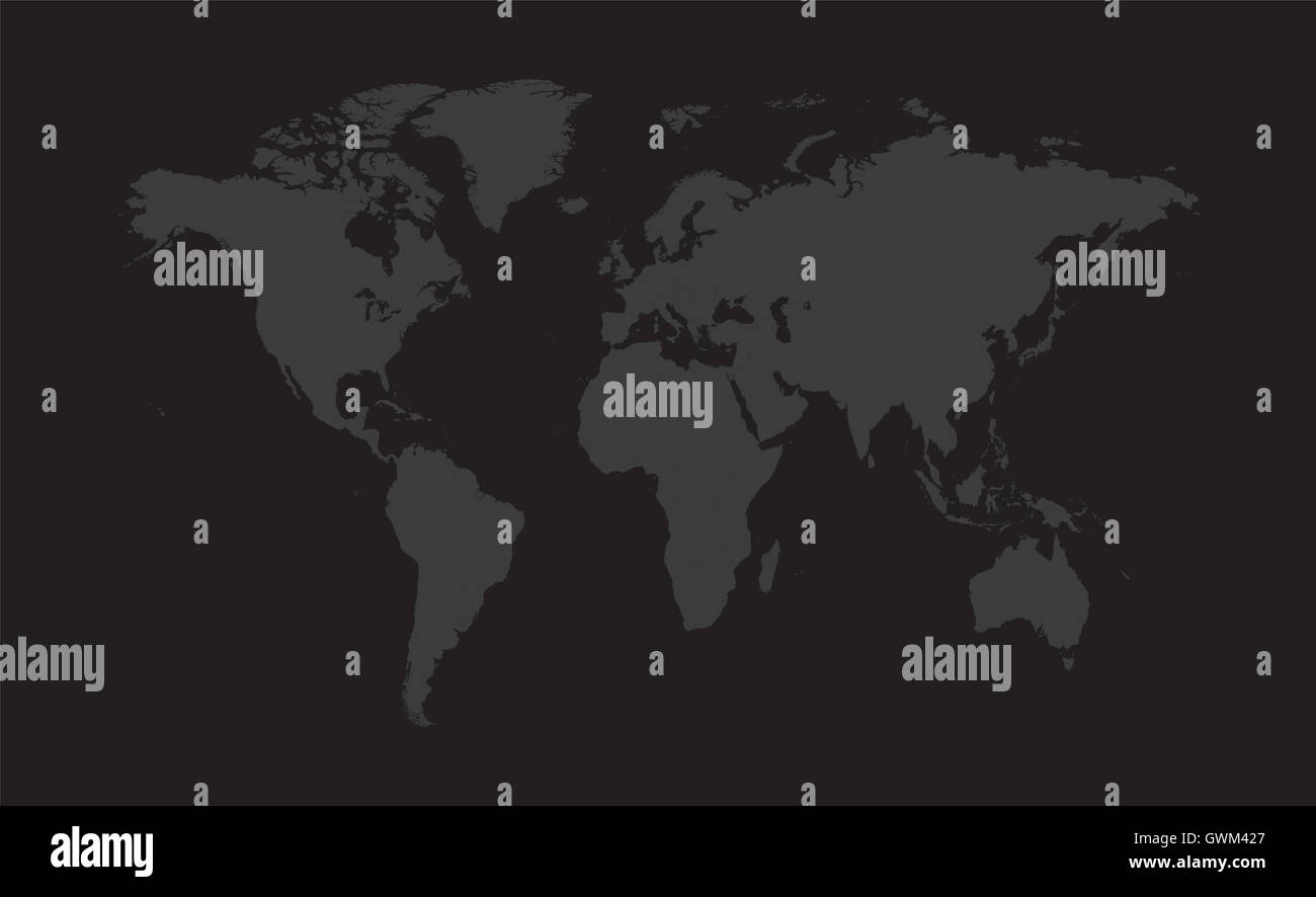 World map vector flat gray color - Stock Image