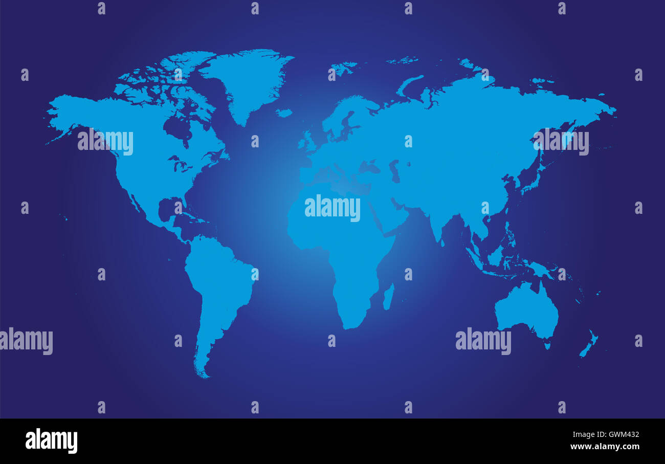 World Map Vector Flat Blue Color Stock Photo Alamy - World map in blue color