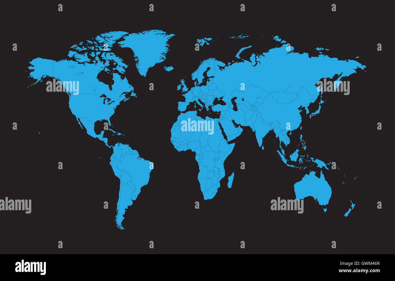 World Map Vector Flat With Borders Blue Color Stock Photo - World map in blue color