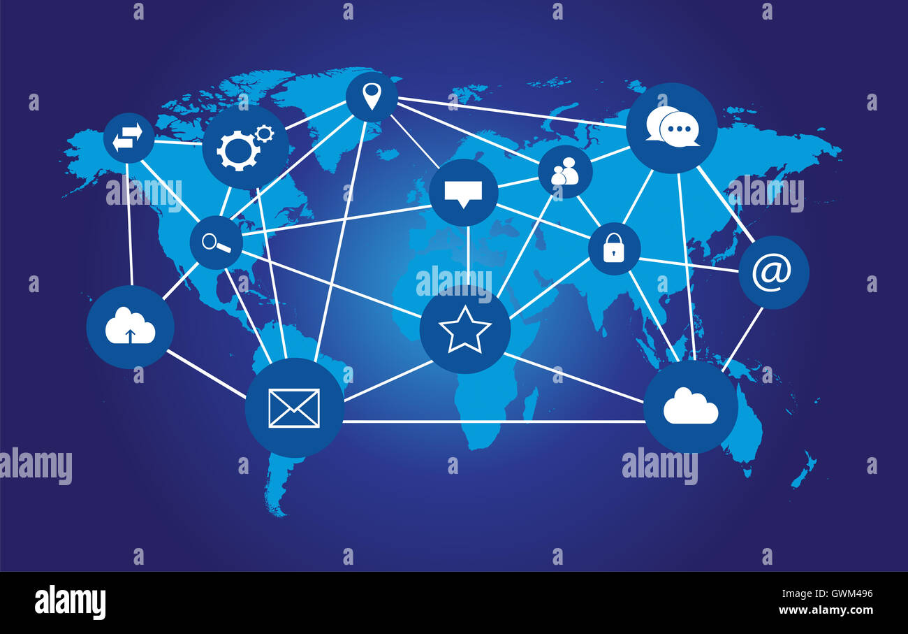 World map info graphic with social media icons blue color stock world map info graphic with social media icons blue color gumiabroncs Images