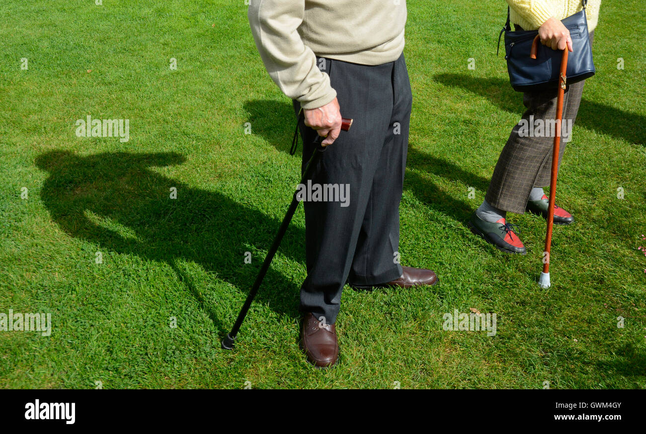 Old age pensioners with their walking sticks in a garden. - Stock Image