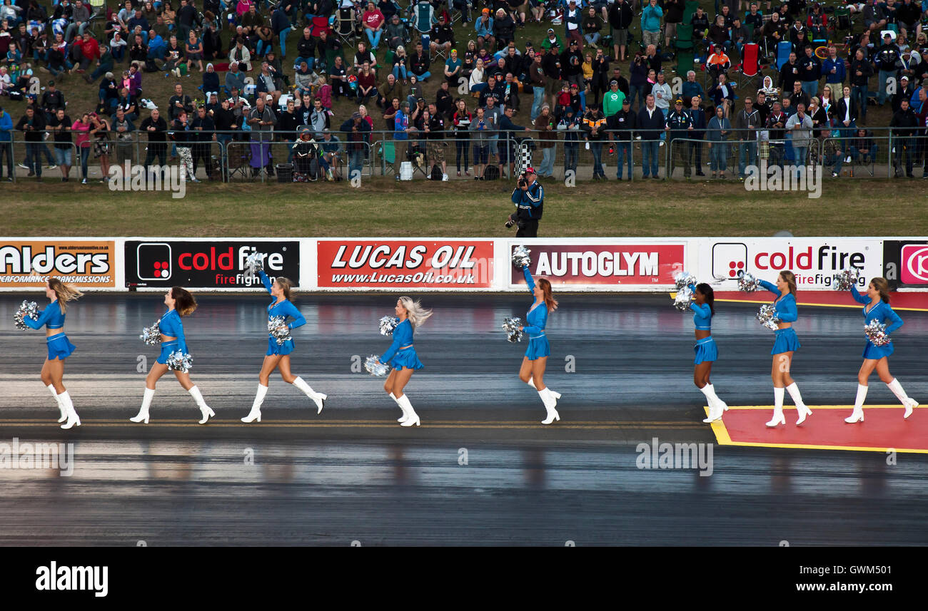 The London Cheerleaders at Santa Pod Raceway. - Stock Image