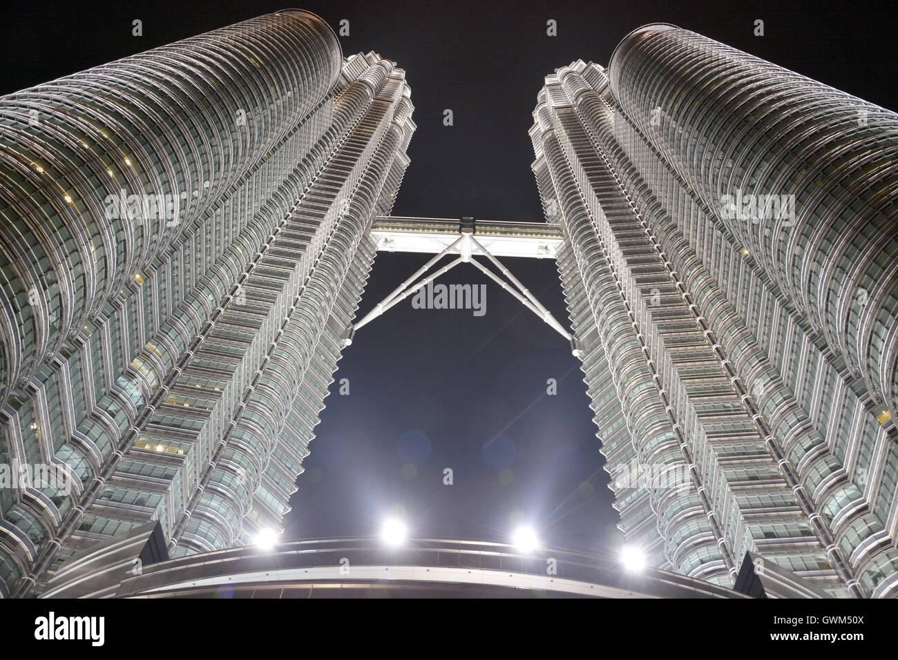 View of Petronas Towers at night. - Stock Image