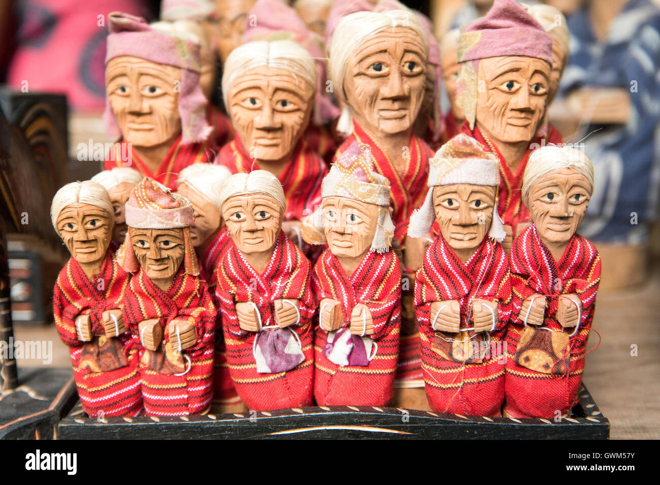 :Tau Tau in the burial sites of Toraja. Tau Tau is a replica of the Toraja people - Stock Image