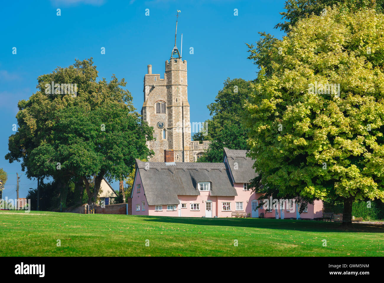 England traditional village, the village green in Cavendish Suffolk, England, UK - Stock Image