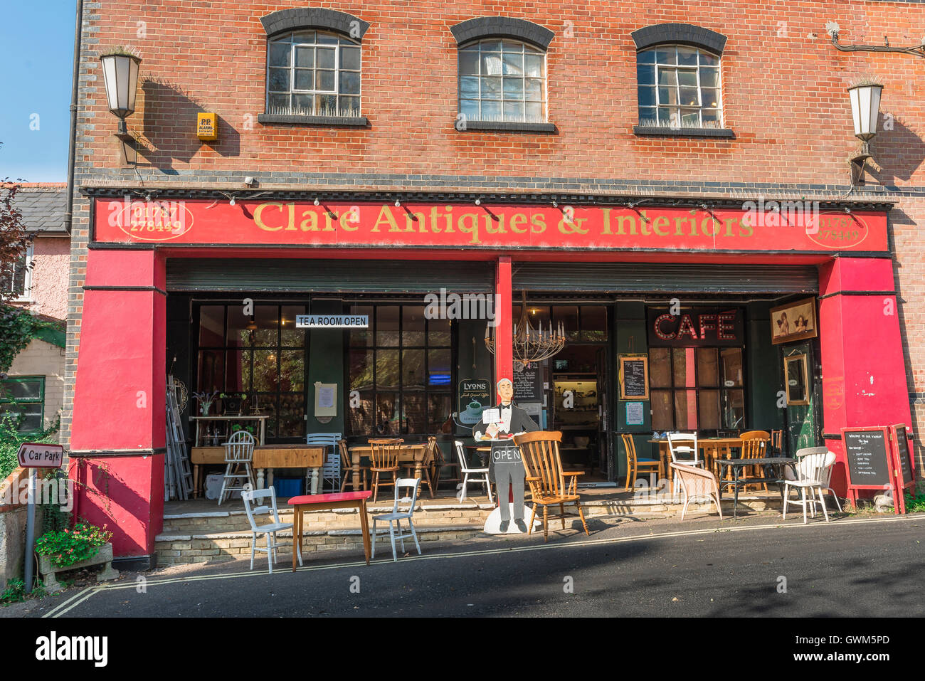 Clare Suffolk antiques, an antiques and furniture warehouse in the village of Clare, Suffolk, England, Babergh district, - Stock Image