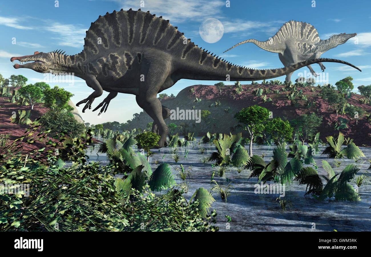 Carnivorous Spinosaurus Dinosaurs - Stock Image