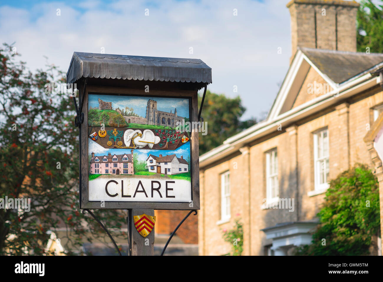 Clare Suffolk, an illustrated sign in the historic village of Clare in Suffolk, England, Babergh district, UK. - Stock Image