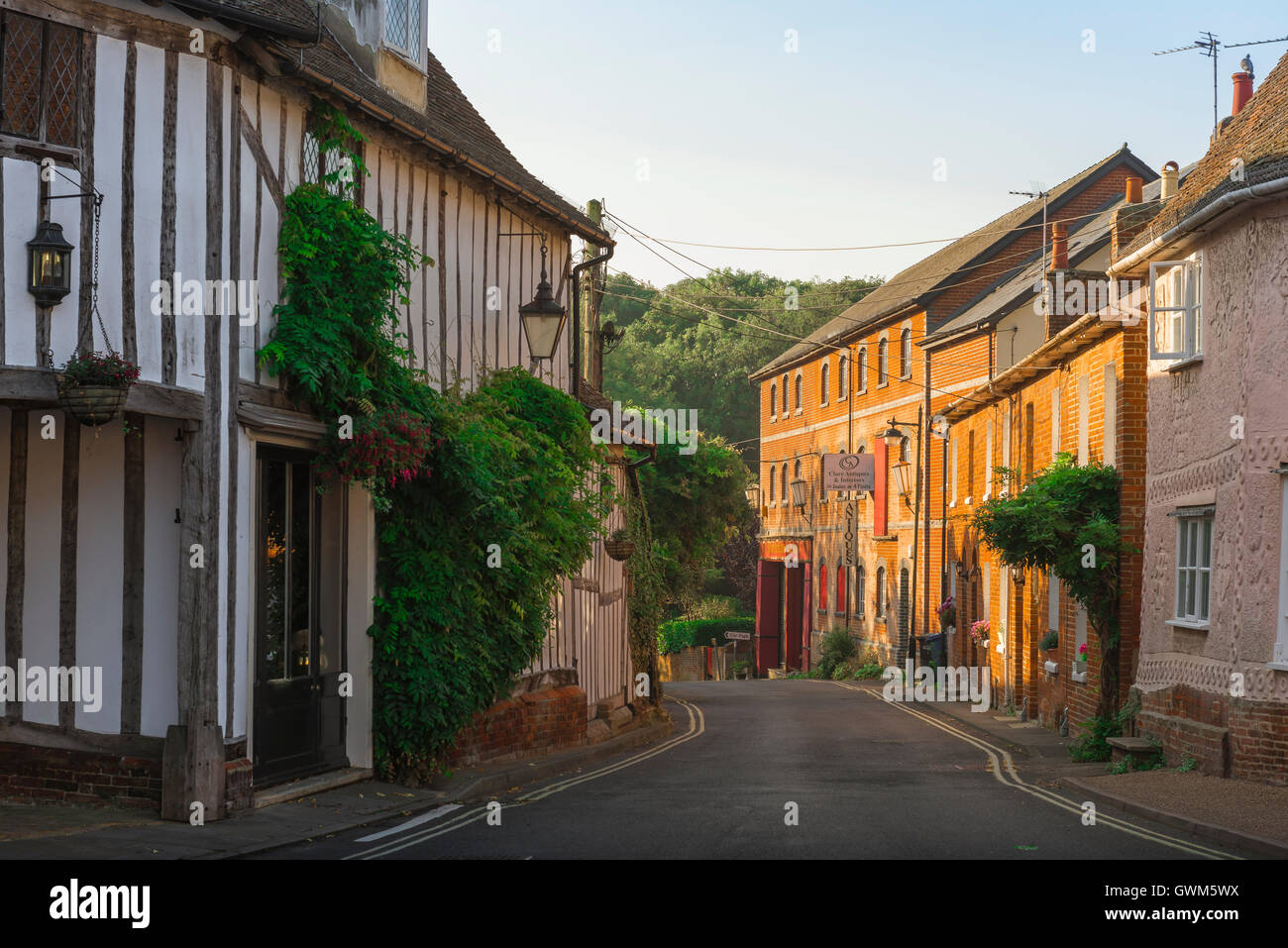 Clare Suffolk village street, medieval and 18th century buildings in Maltings Lane in the village of Clare, Babergh - Stock Image