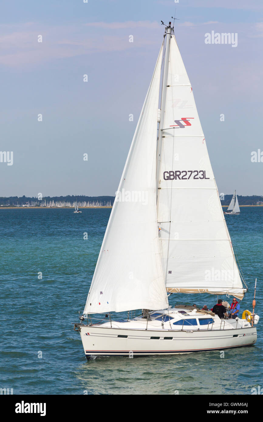 Sailing in the Solent on a Southerly 110 yacht in September - Stock Image