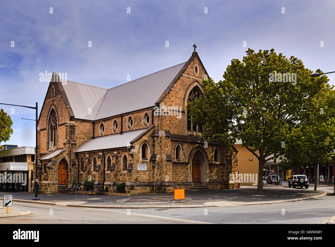 Uniting Church in Australia - historic catholic church in Fremantle town near Perth city, Western Australia. - Stock Image