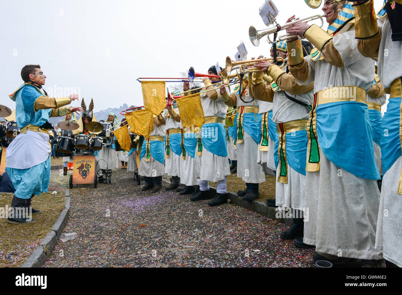 Tesserete, Switzerland - 13 February 2016: people playing music at the carnival of Tesserete on the italian part Stock Photo