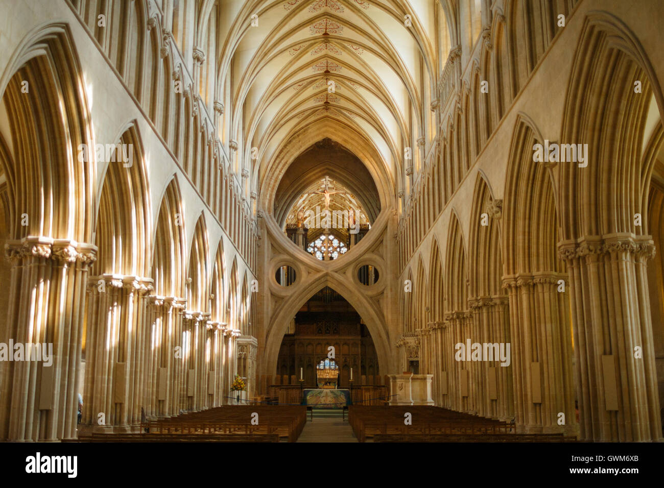Interior view of Wells Cathedral Church of Saint Andrew - Stock Image