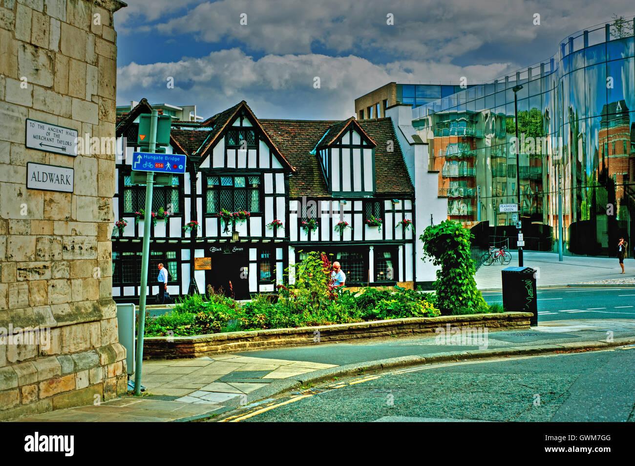 Aldwark and Peasholme Green, York - Stock Image