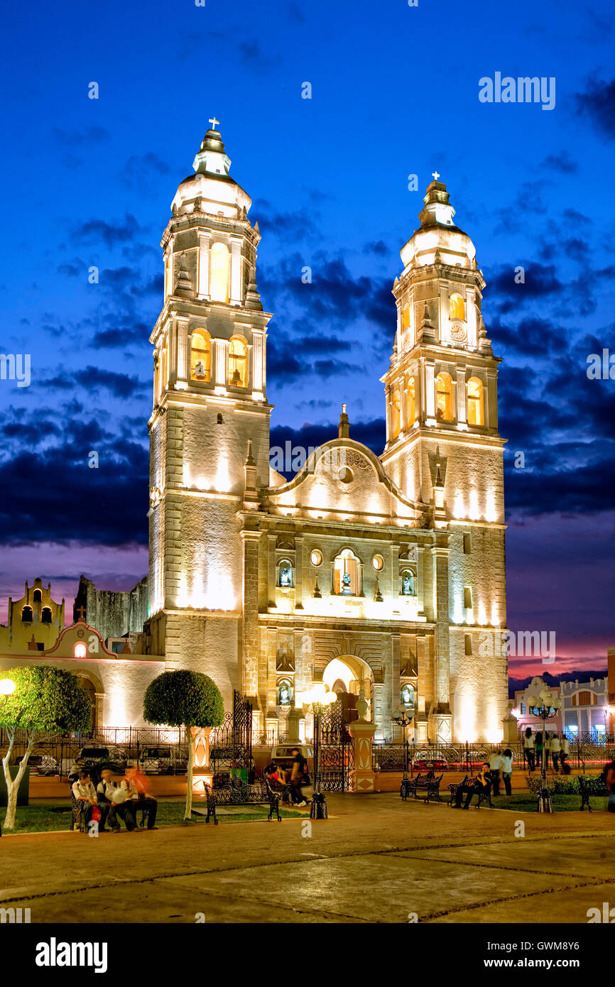 Zocalo and cathedral in Campeche, Mexico Stock Photo