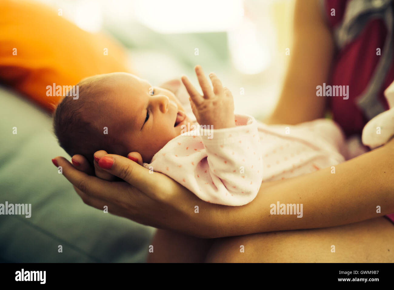 Mother proudly holding beautiful little newborn - Stock Image